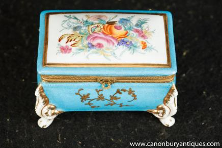 Meissen Jewellery Casket Box German Porcelain Floral Spray