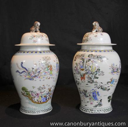 Pair Chinese Wusai Shunzi Porcelain Ginger Jars Pottery Vases