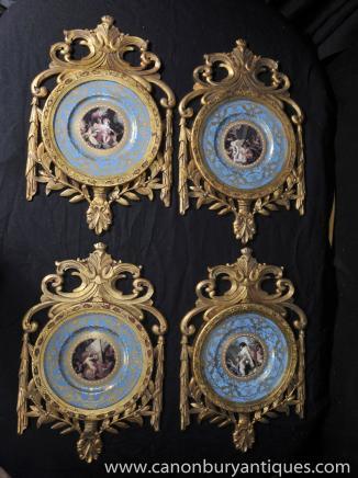Set 4 French Sevres Porcelain Plaques Cherub Plates Gilt Frame