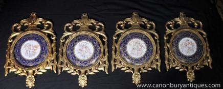 Set Four French Sevres Porcelain Cherub Plaques Gilt Wood Frame