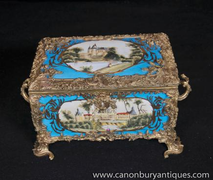 Sevres Porcelain Jewellery Box Chateau Casket Case