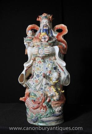 Chinese Wucai Porcelain Buddhist Figurine Male Statue Buddhism Buddhist