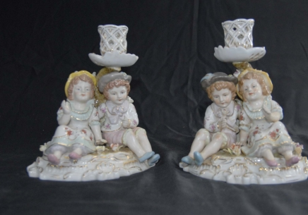 German Porcelain Meissen Child Candle Holders Candelabras