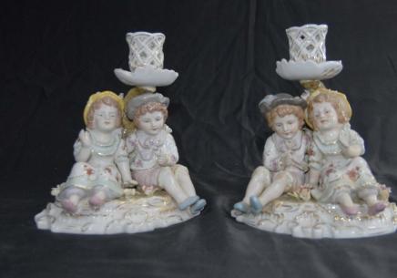 German Porcelain Meissen Child Candle Holders Candelabras