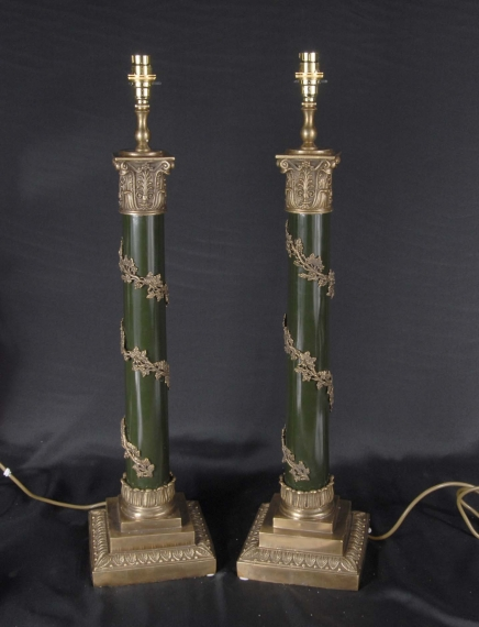 Pair English Regency Column Lamp Bases Table Lights Light