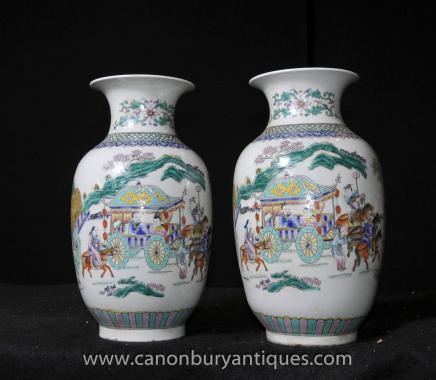 Pair Qianlong Porcelain Urns Chinese Pottery Vases