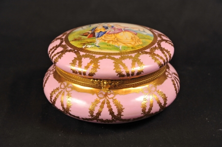Pink German Meissen Porcelain Jewellery Box Case