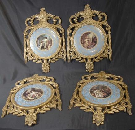 Set 4 French Sevres Porcelain Plaques Plates Giltwood Frame