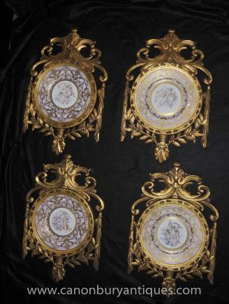Set Sevres Porcelain Cherub Plaques Plates Gilt Frame