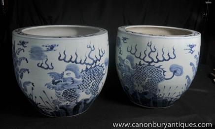 Blue and White Porcelain Planters Dragon Bowls Nanking Pottery