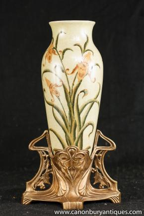 French Art Nouveau Porcelain Vase Ormolu Base Vases Pottery