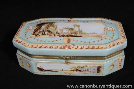 German Meissen Porcelain Jewellery Box Trinket Casket Case