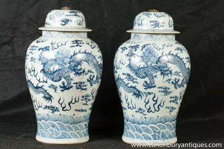 Pair Chinese Nanking Ginger Jars Dragon Vases Urns