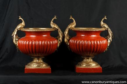 Pair French Empire Porcelain Urns Ormolu Pheasant Handles Craqueleture