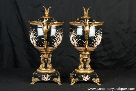 Pair French Porcelain Urns Bowls Stands Japanese Crane Handle