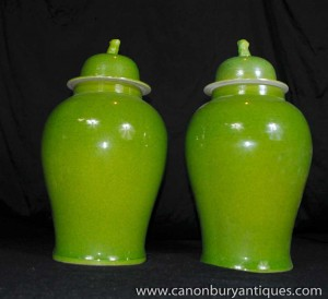 Pair Chinese Porcelain Ginger Jars Lidded Urns Vases