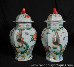 Pair Chinese Porcelain Wucai Lidded Urns Vases Ginger Jar Bird Paradise