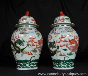 Pair Chinese Pottery Ginger Jars Qing Vases Urns Foo Dogs