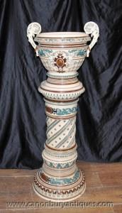 English Majolica Porcelain Jardiniere Plant Stand Pot Column
