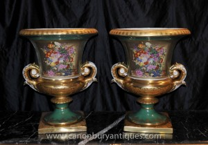 French Sevres Porcelain Floral Campana Urns Planters