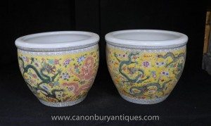Pair Chinese Ming Porcleain Dragon Planters Yellow Ceramic Pots Pottery