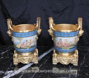 Pair Sevres Porcelain Cache Pots Cherub Planters Ormolu French