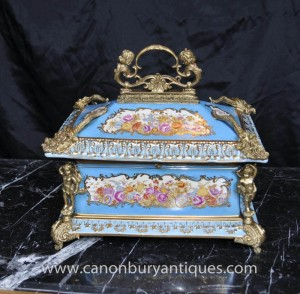 Sevres Porcelain Cheurb Jewellery Box Trinket Case