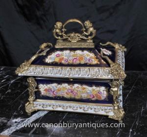 Sevres Porcelain Floral Jewellery Box Casket Ormolu Cherub