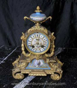Antique Sevres and Ormolu Mantel Clock Clocks 1890