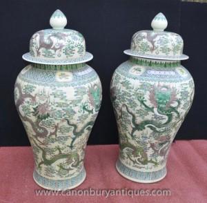 Pair Big Chinese Qianlong Porcelain Dragon Urns Vases Ginger Jars Pots