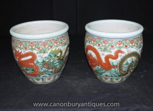 Pair Chinese Ming Porcelain Dragon Planters Pots Urns
