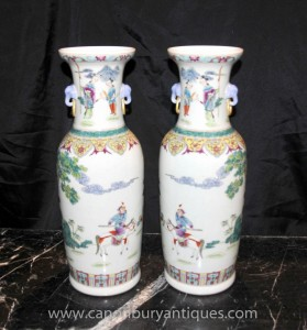 Pair Chinese Qian Long Porcelain Tall Vases Urns Pottery Ceramic