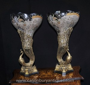 Pair French Peacock Porcelain Vases Urns Ormolu Bird