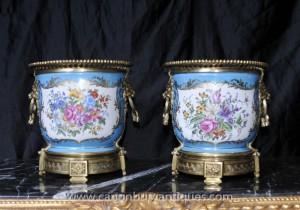 Pair French Sevres Porcelain Floral Planters Cache Pots