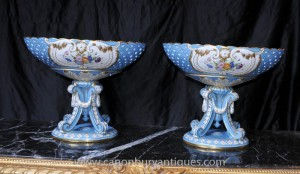 Pair French Sevres Porcelain Urns Tureens Bowls on Stands