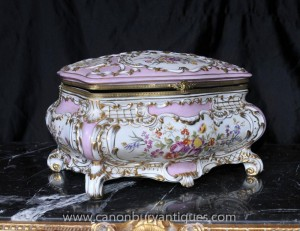 Sevres Porcelain Floral Jewellery Box Trinket Case