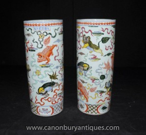 Pair Chinese Ming Porcelain Umbrella Stands Urns Vases Hand Painted