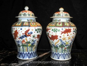 Pair Chinese Porcelain Qianlong Lidded Urns Ginger Jars Vases