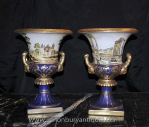 Pair German Dresden Porcelain Campana Urns Planters