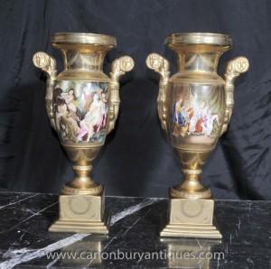 Pair German Dresden Porcelain Roman Toga Urns Vases Classical Amphora