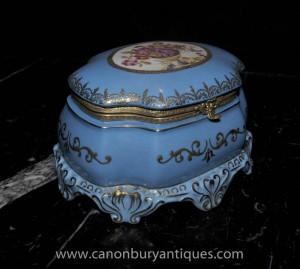 Sevres Porcelain Box Jewellery Trinket Case Floral Motifs