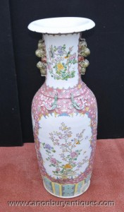 Single Wucai Chinese Porcelain Urns Vases Dragons Asian Antiques
