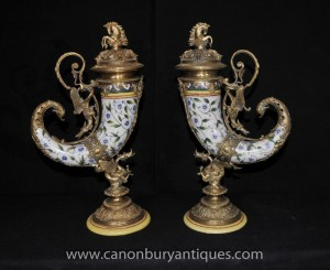 Pair French Porcelain Cornucopia Vases Horn of Plenty Ormolu Dragon