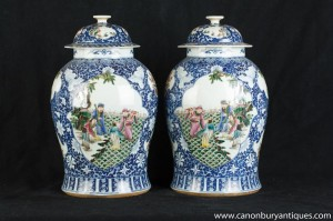 Pair Yuan Blue and White Chinese Porcelain Ginger Jars Urns Vases