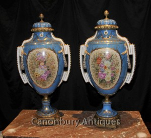 Pair Big French Sevres Floral Spray Porcelain Urns Vases