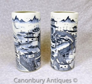Pair Blue and White Ming Porcelain Umbrella Stands Urns Vases Chinese
