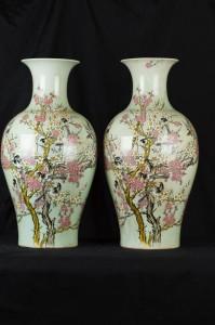 Pair Chinese Famille Vert Porcelain Vases Ming Bird Urns