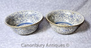 Pair Chinese Kangxi Blue and White Porcelain Bowls Plates