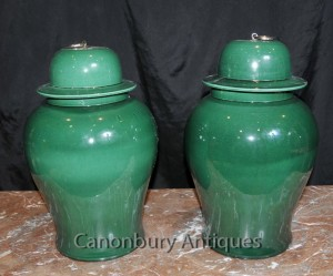 Pair Chinese Porcelain Ginger Jars Temple Jars Urns Vases