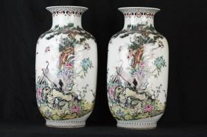 Pair Chinese Qianjiang Porcelain Vases Urns Crane Stork Painted China